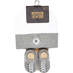 Mini boys grey Converse hat and boots set