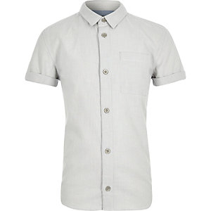 Boys blue fine stripe short sleeve shirt