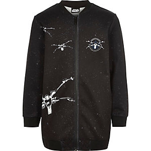 Boys dark grey Star Wars print bomber jacket