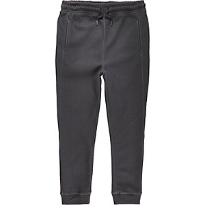 Boys dark grey panelled joggers