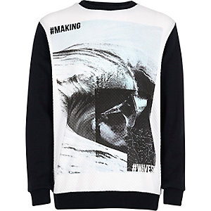 Boys white waves print sweatshirt