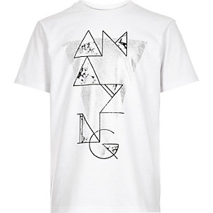 Boys white amazing slogan print t-shirt