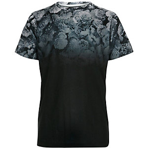 Boys black faded floral print t-shirt
