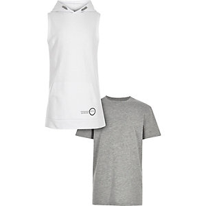 Boys white sleeveless hoodie t-shirt set