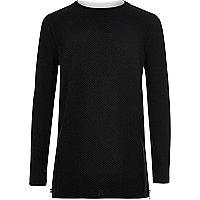 Schwarzer langärmliger Pullover im Lagen-Look
