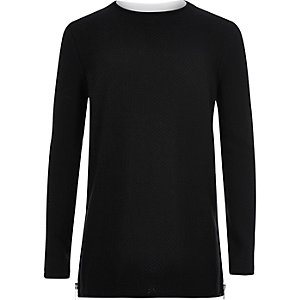 Boys black layered long sleeve sweater