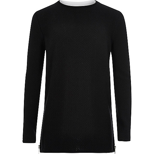 Boys black layered long sleeve jumper