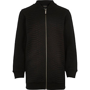 Boys black textured bomber jacket
