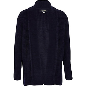 Boys navy knitted open cardigan