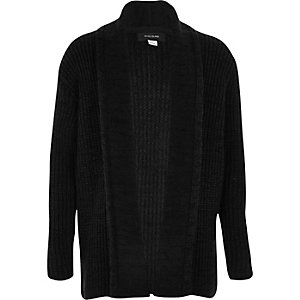 Boys black knitted open front cardigan