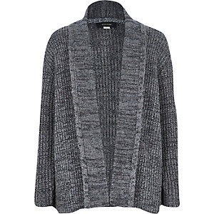 Boys grey knitted open front cardigan