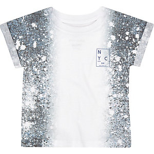 Mini boys white splash print t-shirt