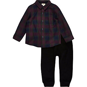 Mini boys red check shirt joggers outfit