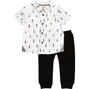 Mini boys soldier print shirt joggers outfit
