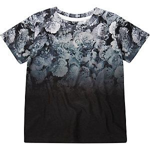 Mini boys grey fade floral t-shirt