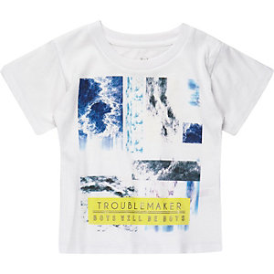 Mini boys white troublemaker print t-shirt