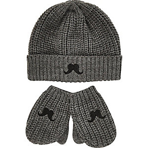 Mini boys grey moustache hat mittens set