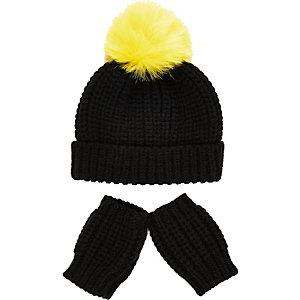 Mini boys black beanie hat mittens set