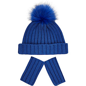 Mini boys blue beanie hat gloves set