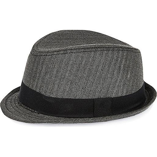Mini boys black herringbone trilby hat