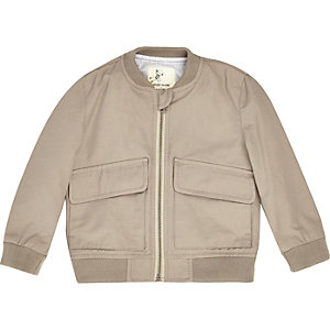 Mini boys beige bomber jacket