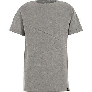 Boys grey ribbed panel t-shirt