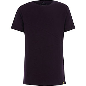Boys purple ribbed panel t-shirt