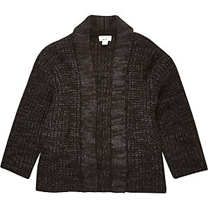 Mini boys black knitted cardigan