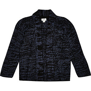 Mini boys blue knitted cardigan