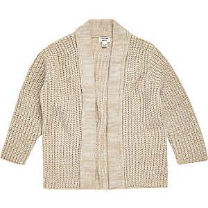 Mini boys cream knitted cardigan