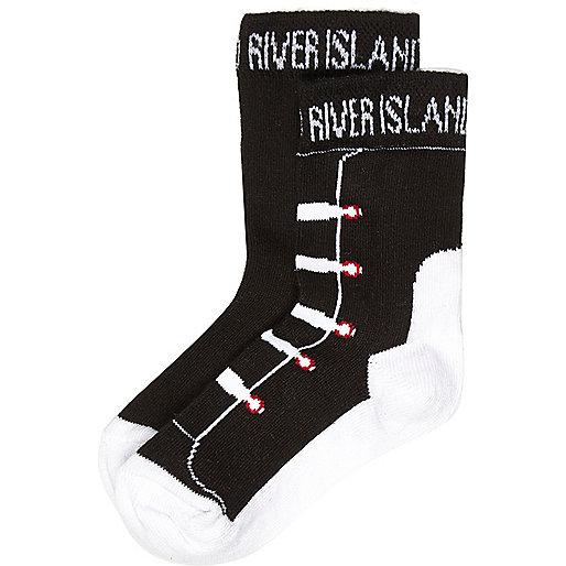 Mini boys black trainer socks