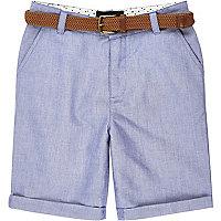Short Oxford bleu à ceinture pour garçon