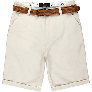 Boys beige belted Oxford shorts