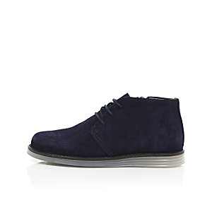 Boys navy suede clear sole desert boots