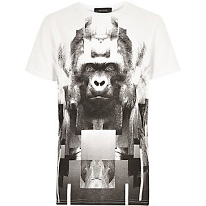 Boys white gorilla print t-shirt