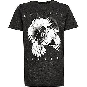 Boys grey control print t-shirt