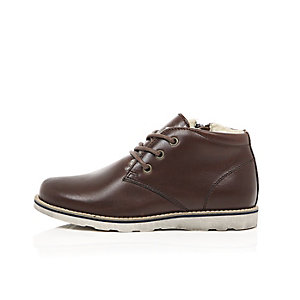 Boys brown leather fleece lined boots