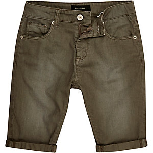 Boys khaki green faded denim shorts