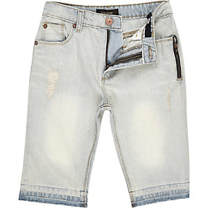 Boys faded distressed raw hem denim shorts