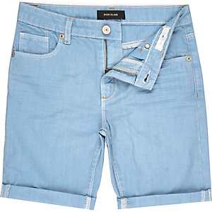 Boys light blue denim turn-up shorts
