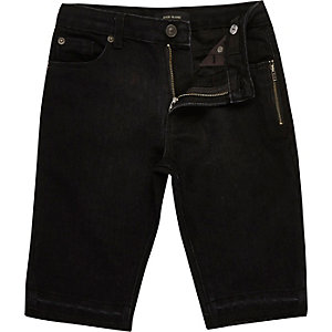 Boys black zip raw hem denim shorts