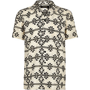 Boys cream geometric print short sleeve shirt