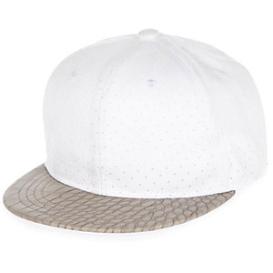 Boys white faux suede cap