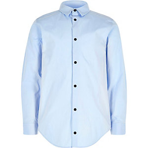 Boys light blue popper shirt