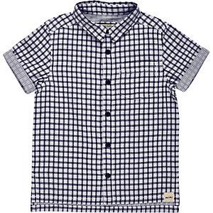 Mini boys blue check short sleeve shirt