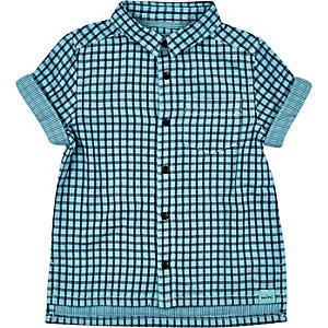Mini boys turquoise check short sleeve shirt