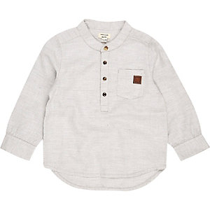 Mini boys cream grandad shirt