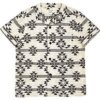 Mini boys cream geometric print shirt