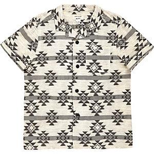 Mini boys cream geometric print shirt
