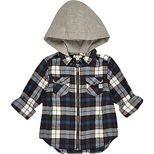 Mini boys blue check hooded shirt jacket